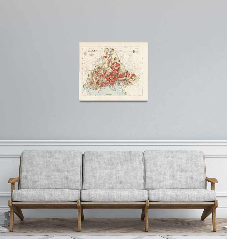 """Vintage Map of Oslo Norway (1911)""  by Alleycatshirts"