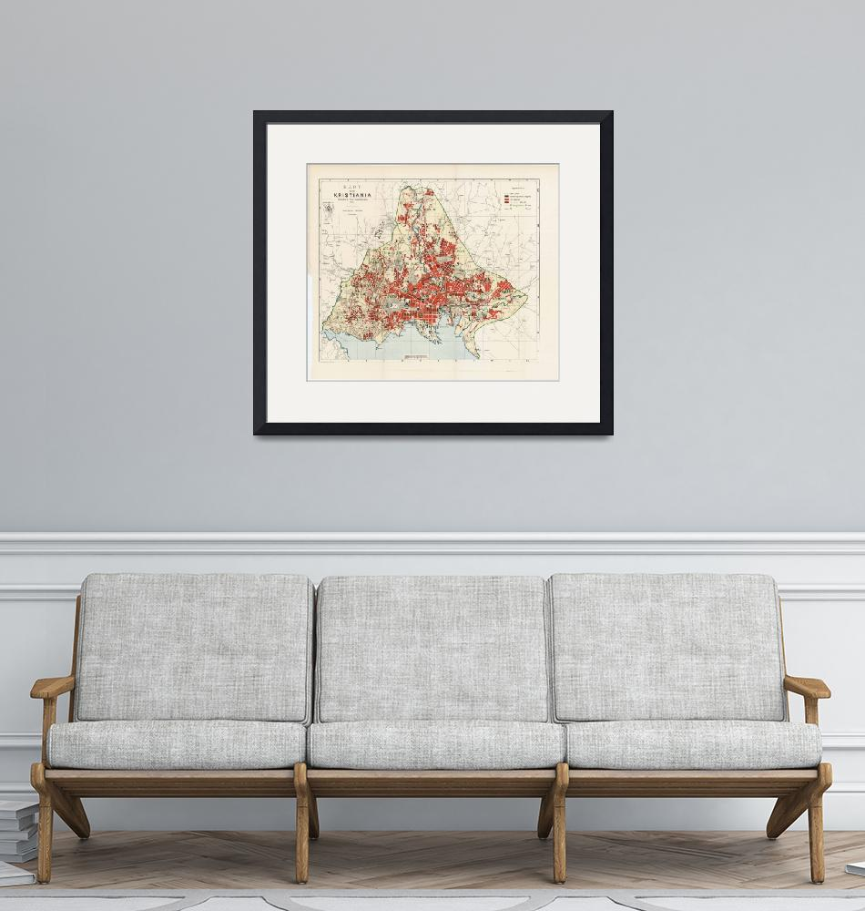 """""""Vintage Map of Oslo Norway (1911)""""  by Alleycatshirts"""