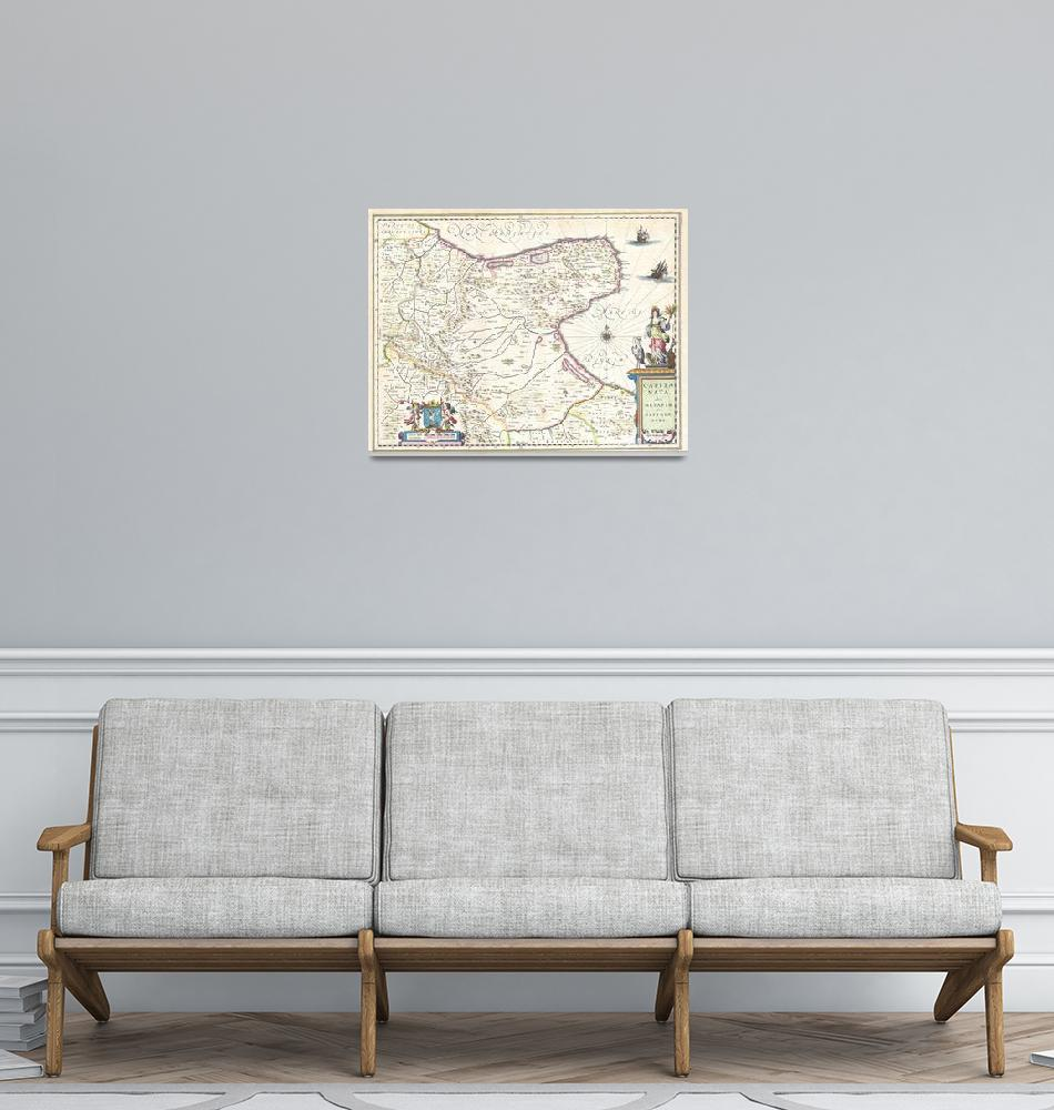 """Map of Capitanata (Foggia), Italy by Willem Blaeu""  by FineArtClassics"