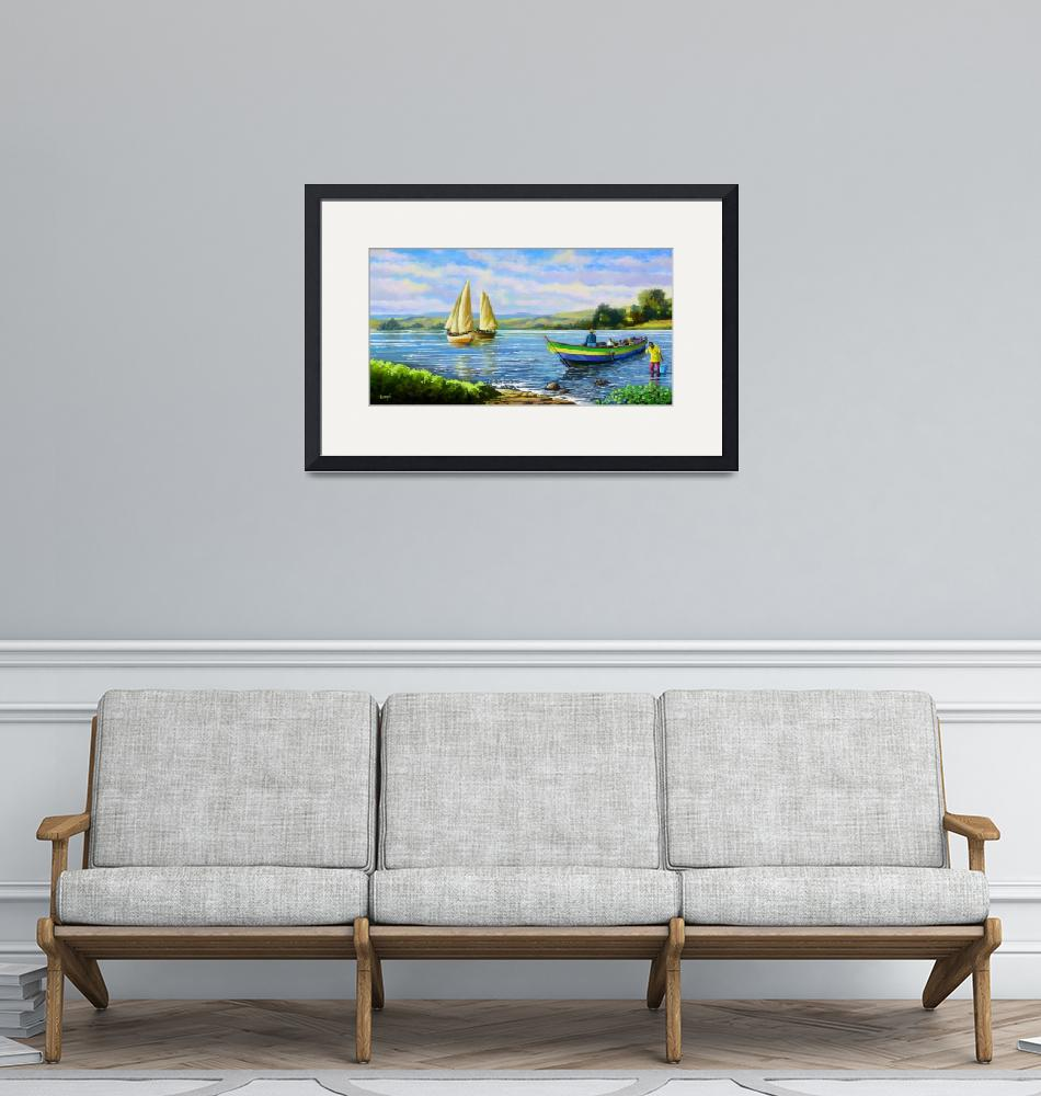 """""""Boats at Lake victoria""""  (2013) by Antodezigns"""