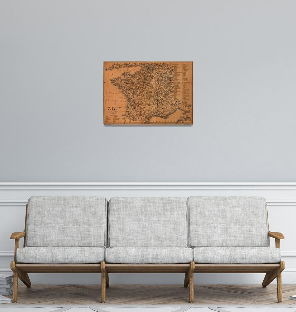 """""""Vintage Map of Railroads in France (1914)""""  by Alleycatshirts"""