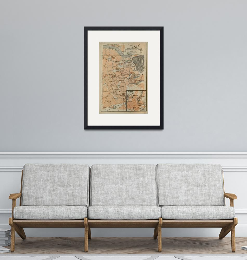 """""""Vintage Vilnius Lithuania Map (1914)""""  by Alleycatshirts"""