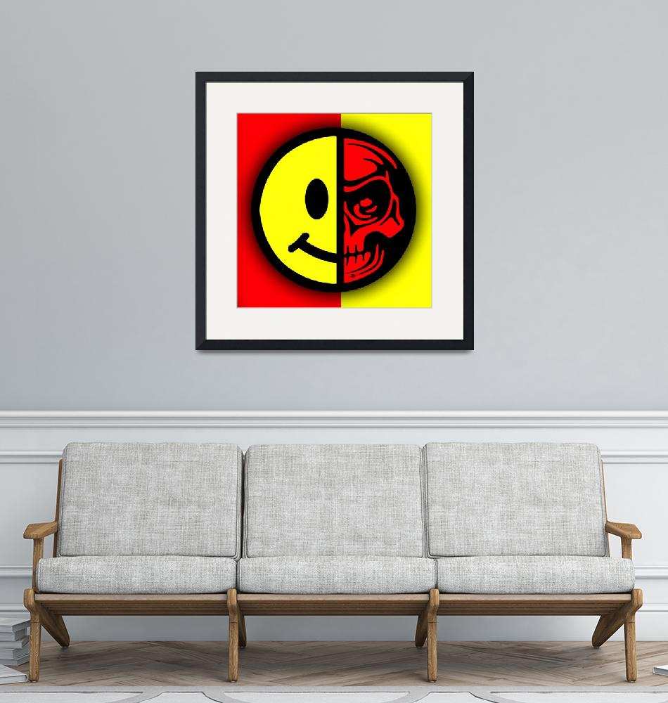 """Smiley Face Skull Yellow Red Border""  (2018) by RubinoFineArt"