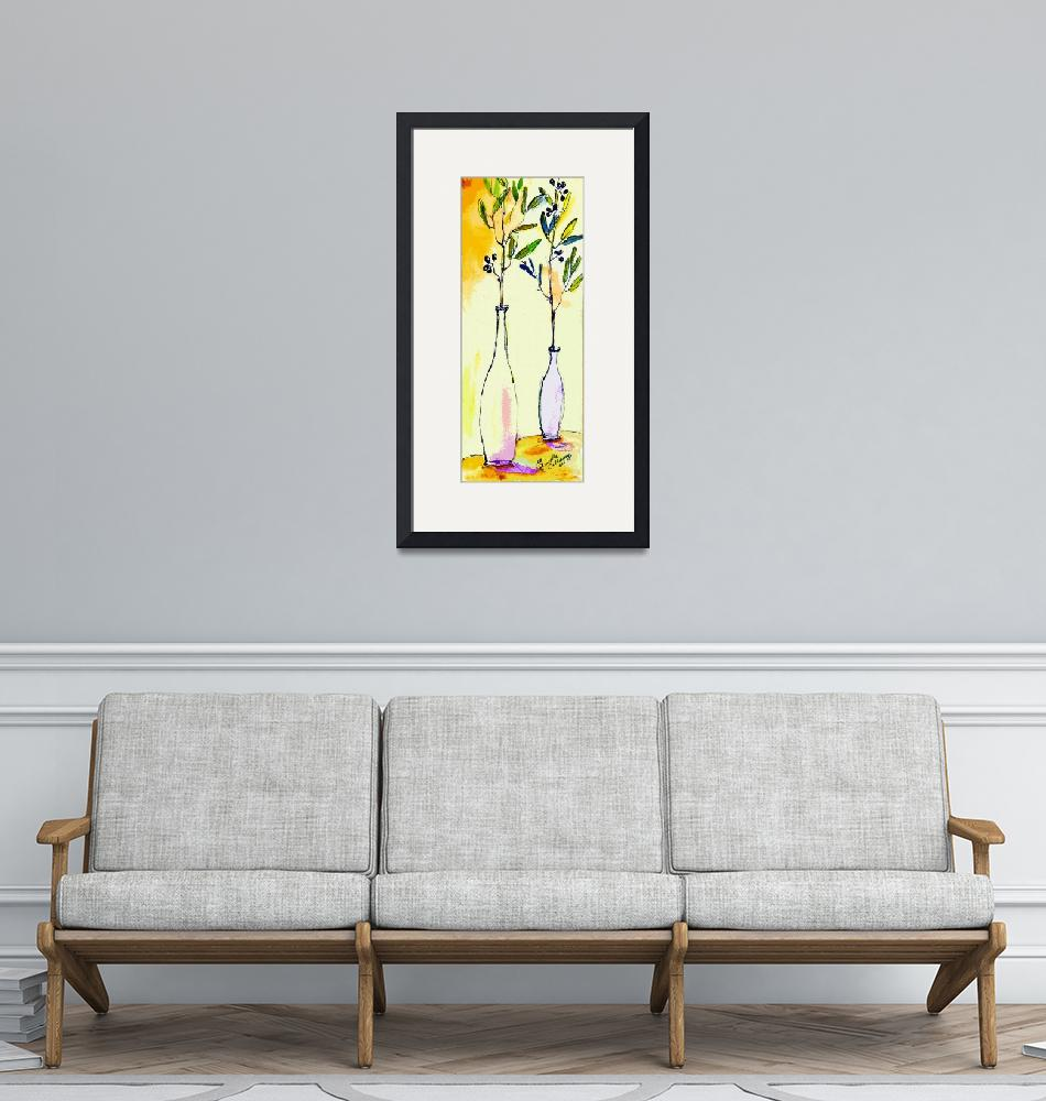 """""""Olive branches in Vase Modern Decor""""  (2014) by GinetteCallaway"""