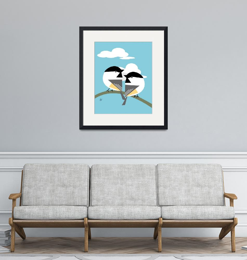 """""""Black Capped Chickadee Duo""""  by waterart"""