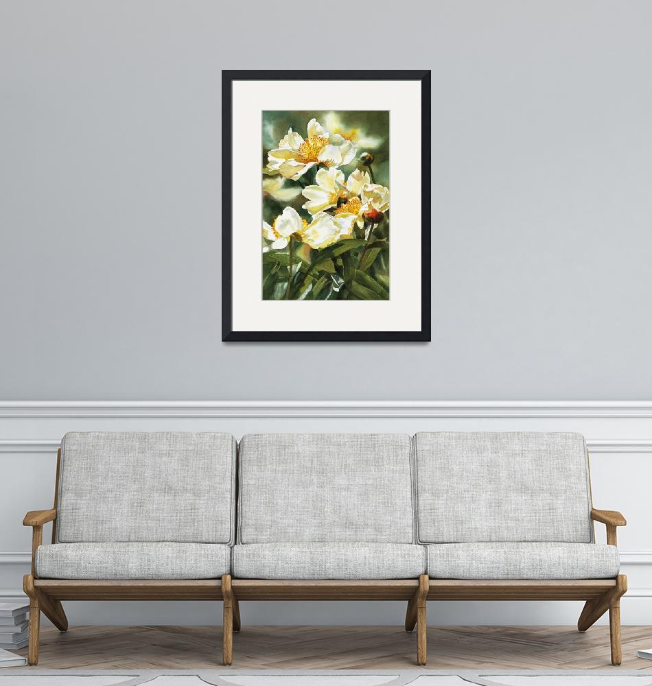 """""""Gold and White Peony"""" (2006) by Pacific-NW-Watercolors"""