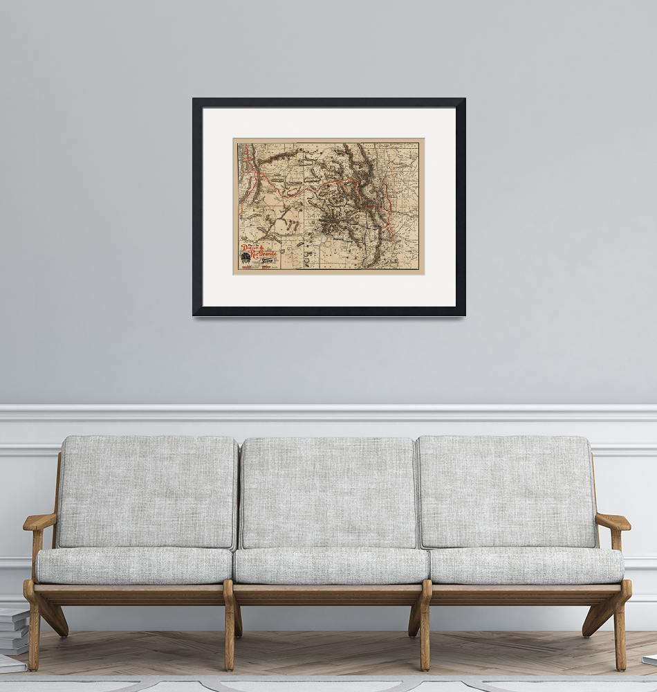 """""""Denver and Rio Grande Railroad 1896 Antique Map""""  (2020) by WilshireImages"""