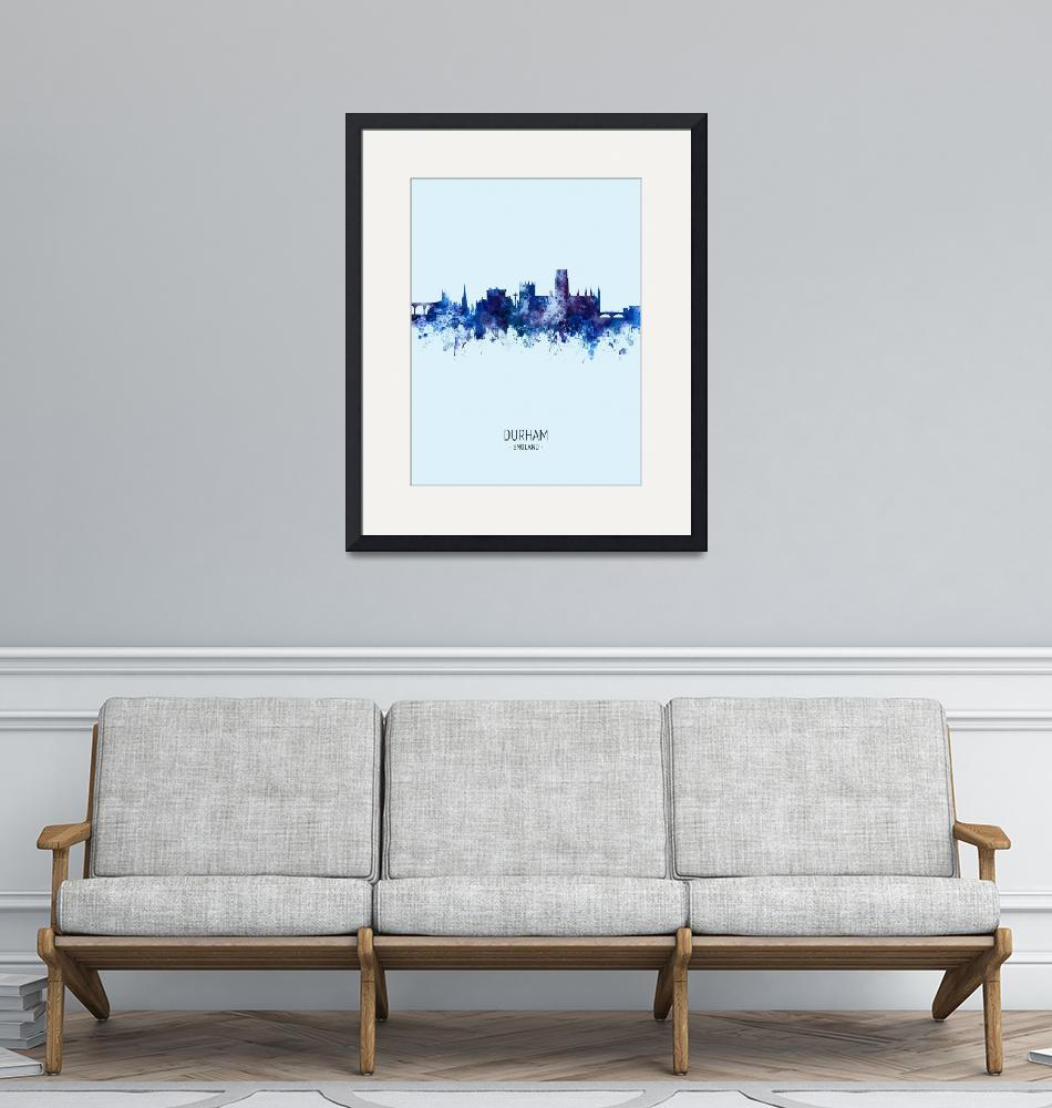 """Durham England Skyline Cityscape""  (2019) by ModernArtPrints"