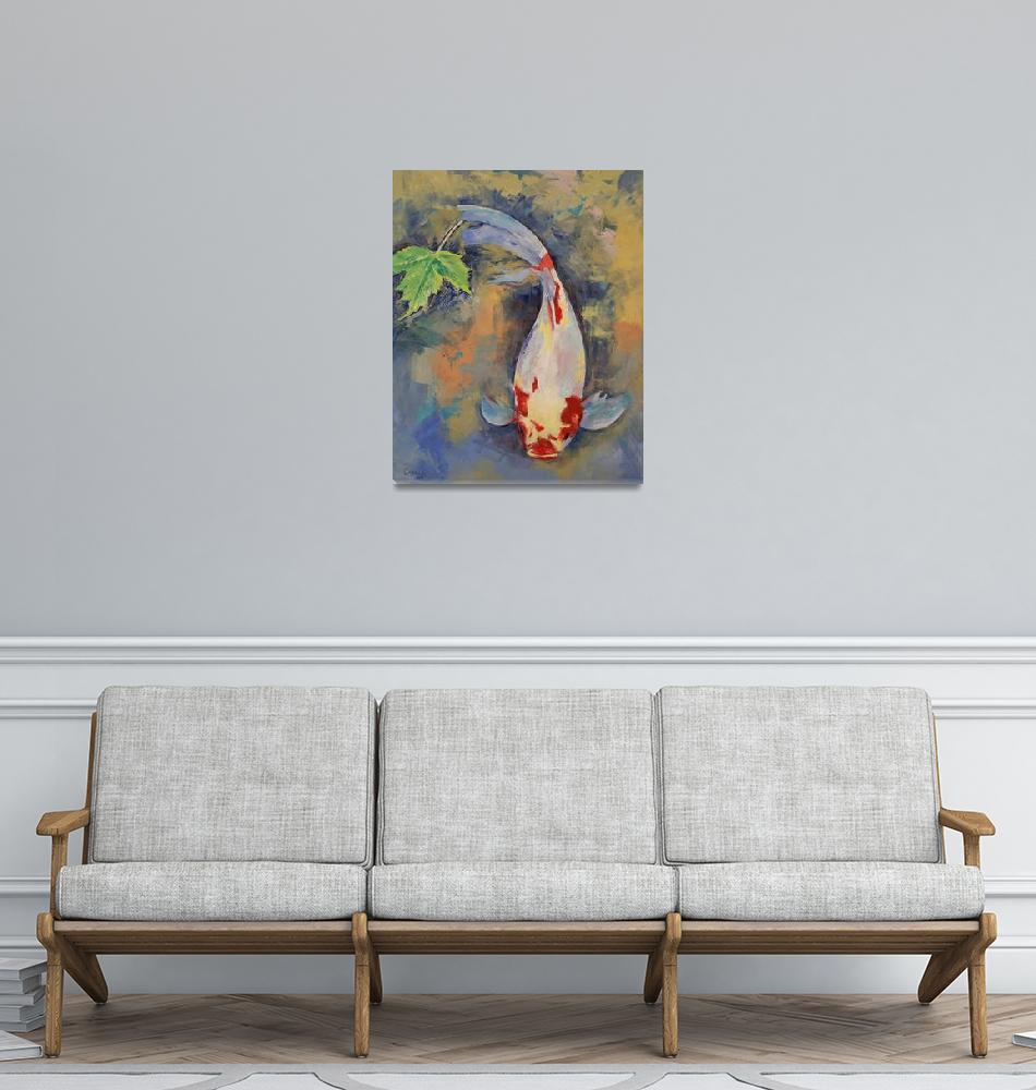 """""""Koi with Japanese Maple Leaf""""  by creese"""