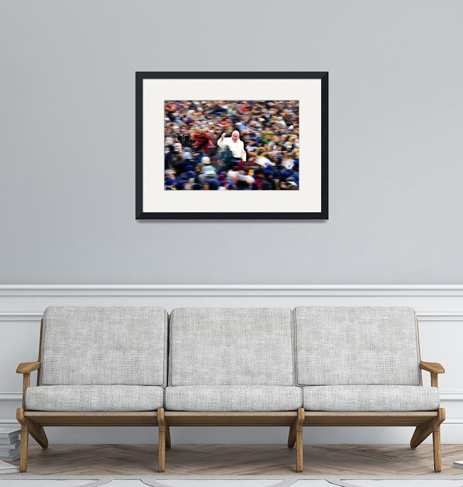 """""""Pope Francis In Crowd of Faithful Acrylic 1""""  (2016) by RubinoFineArt"""