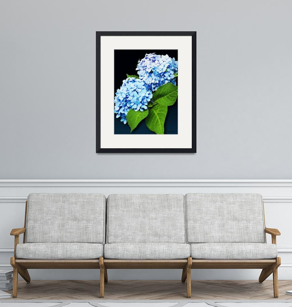 """Flowers - Blue Hydrangea Profile""  by susansartgallery"