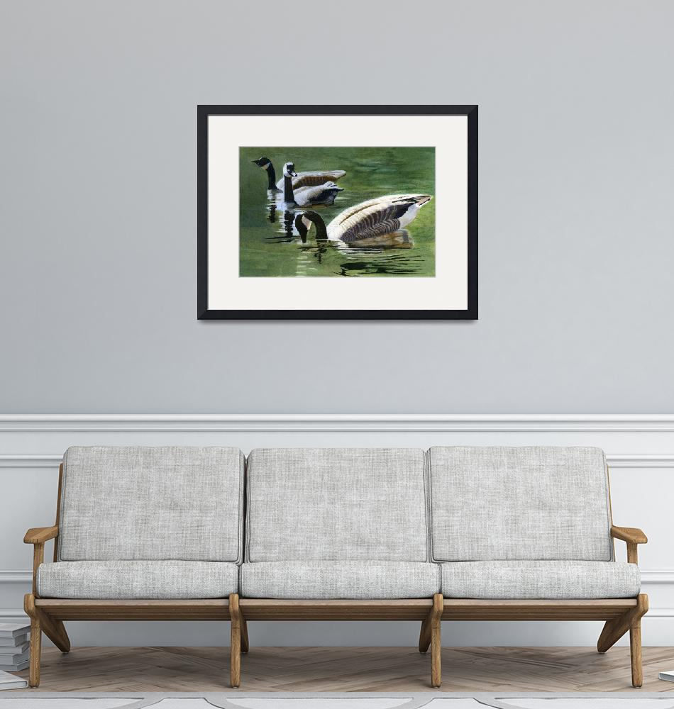 """Three Canada Geese""  (2010) by Pacific-NW-Watercolors"