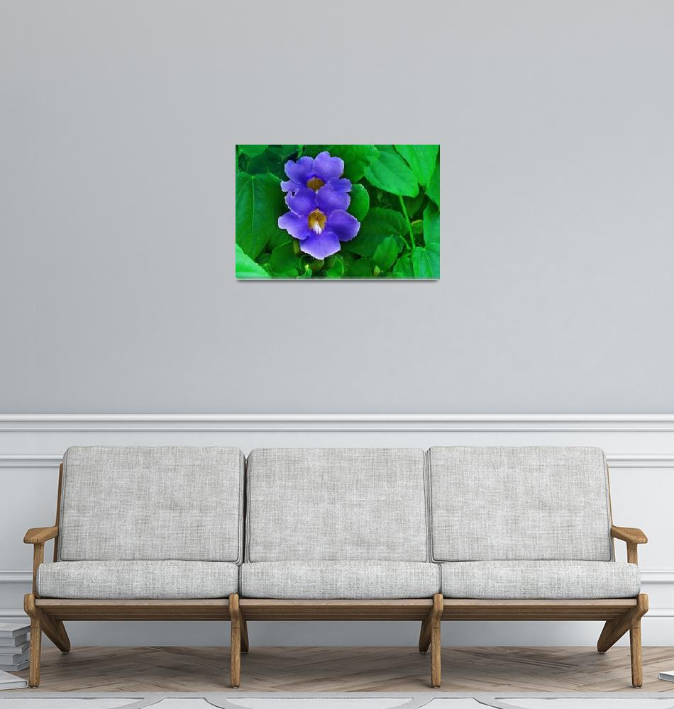 """Blue Flowers on Green Leaf Background""  (2012) by charker"