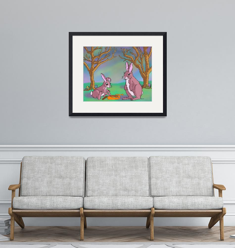 """""""Distracted Easter Bunnies""""  (2004) by audralemke"""