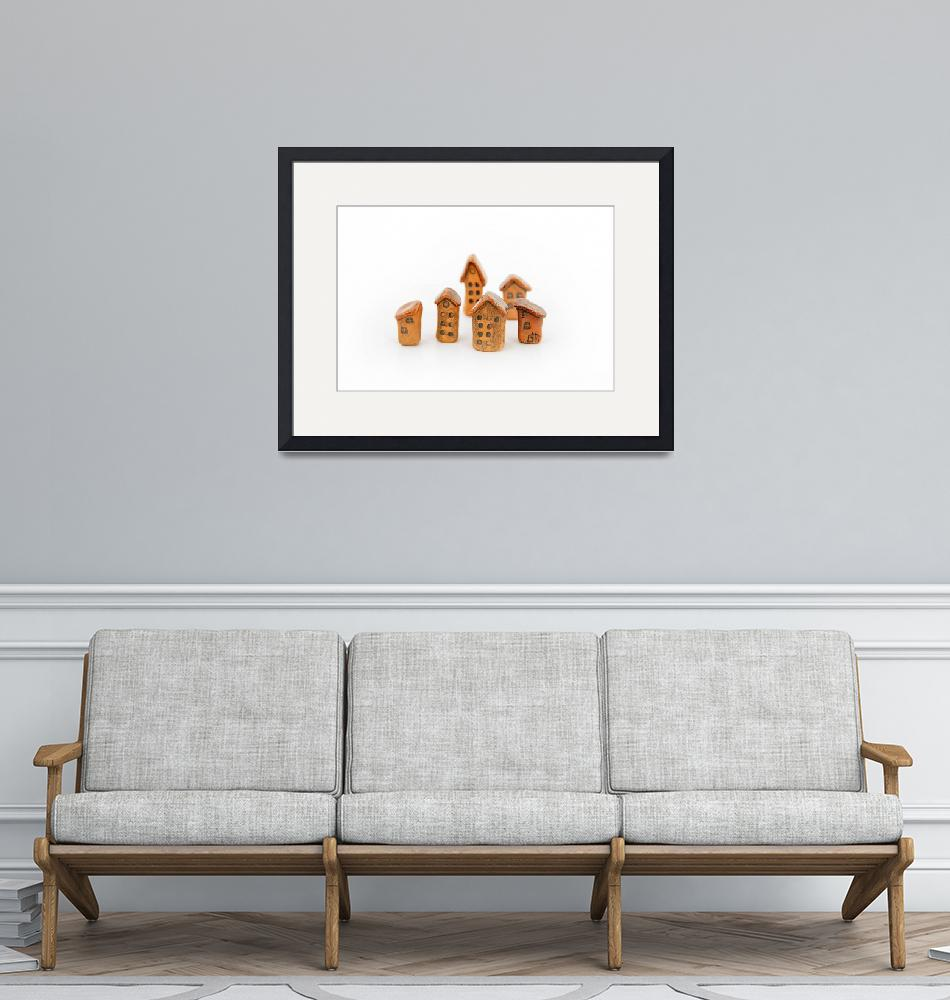 """""""Clay homes group on white background""""  (2014) by Gromushka"""