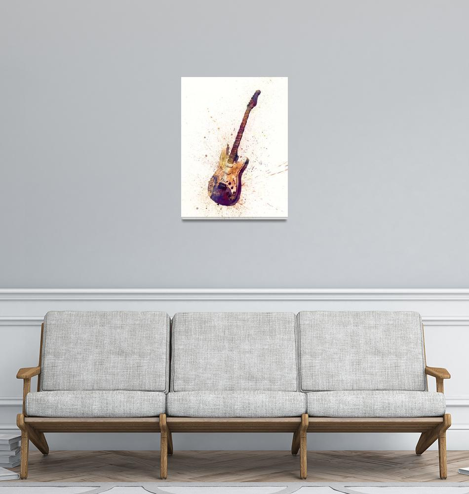 """Electric Guitar Abstract Watercolor""  (2015) by ModernArtPrints"