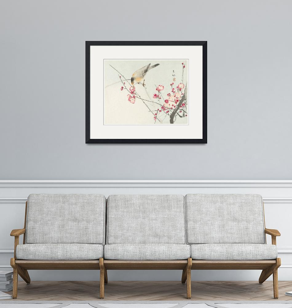 """Songbird on Blossom Branch by Ohara Koson""  by FineArtClassics"