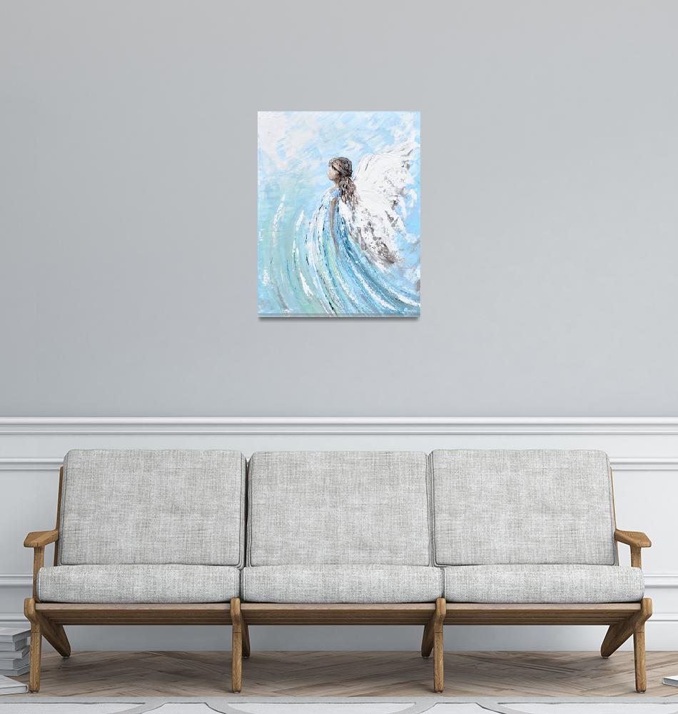 """""Lifted by Grace"" Angel Painting""  by ChristineBell"
