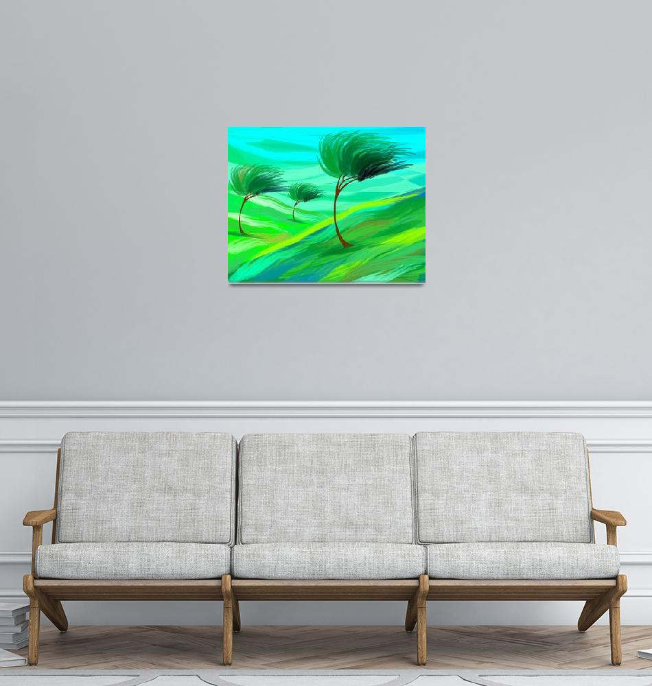 """""""Digital painting of trees in grassland suffering s""""  (2009) by digitalpainting"""