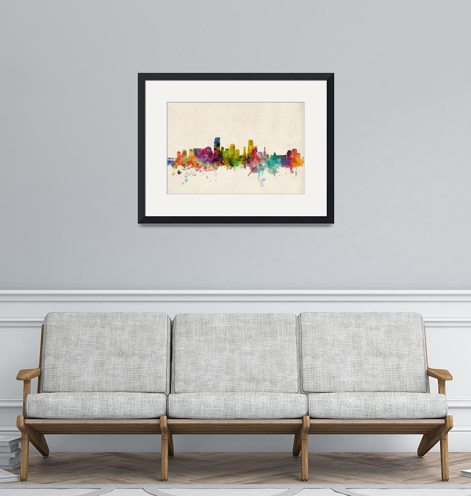 """Miami Florida Skyline""  (2013) by ModernArtPrints"