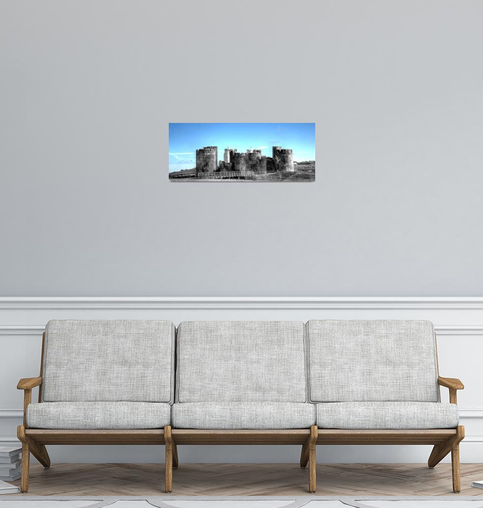 """""""Caerphilly Castle Monochrome With Blue Sky""""  by StevePurnell"""