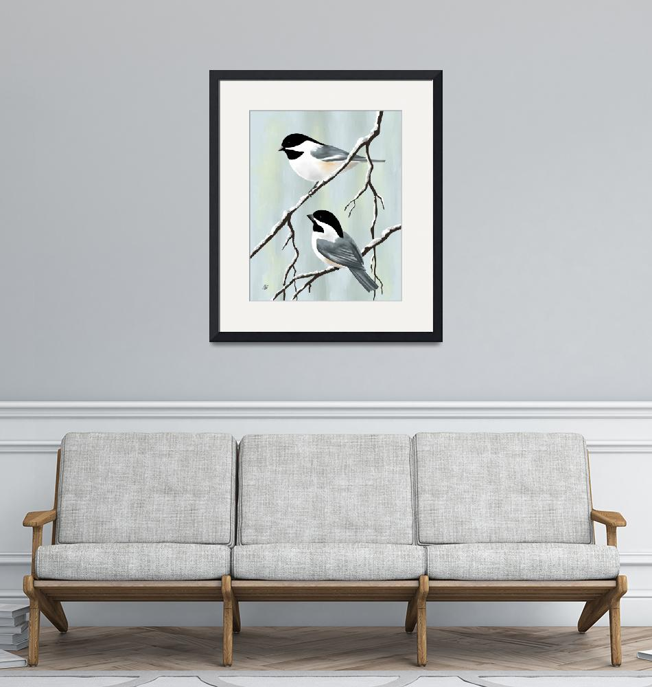 """""""Two Winter Chickadees""""  by waterart"""