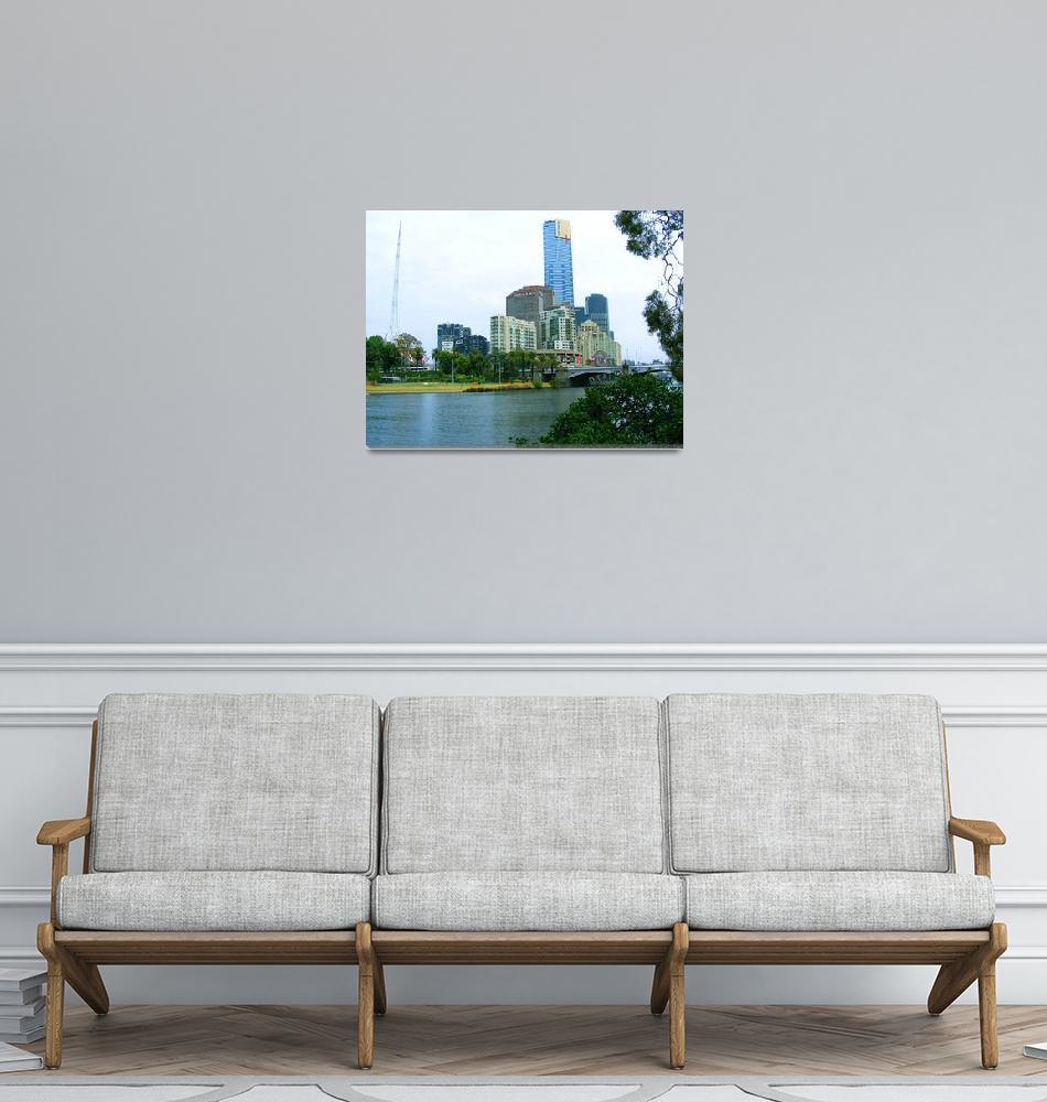 """Downtown Melbourne and Yarra River 0710""  (2008) by davidflurkey"