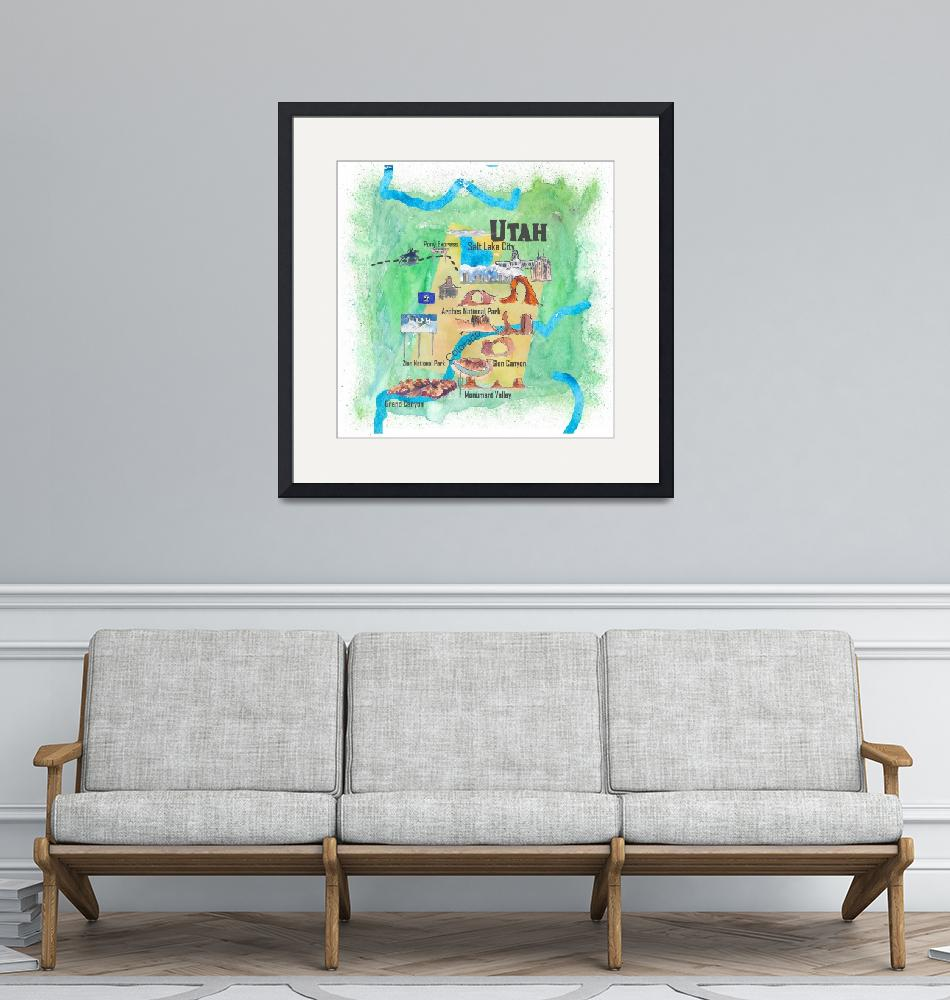 """""""USA Utah State Travel Poster Illustrated Art Map""""  (2018) by arthop77"""