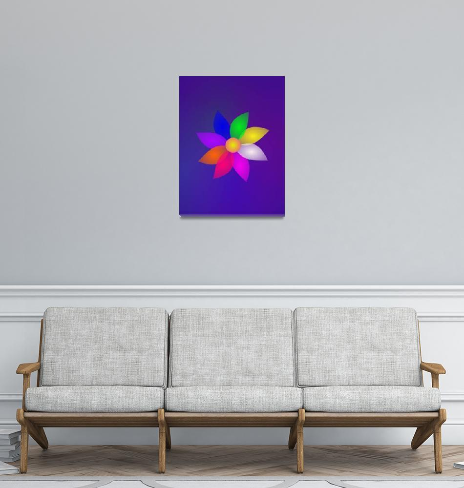 """""""Colorful Flower in Space Art""""  (2013) by masabo"""