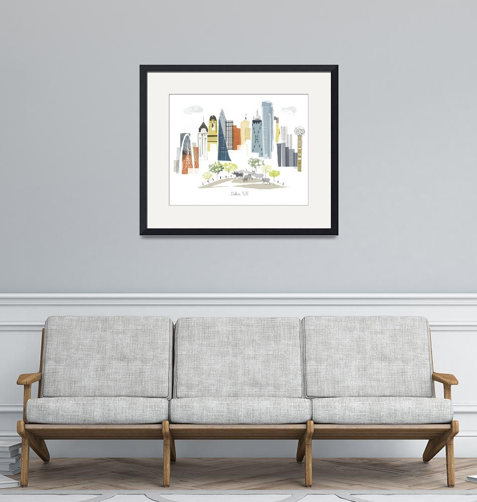 """Dallas Modern Cityscape Illustration""  by AlbieDesigns"