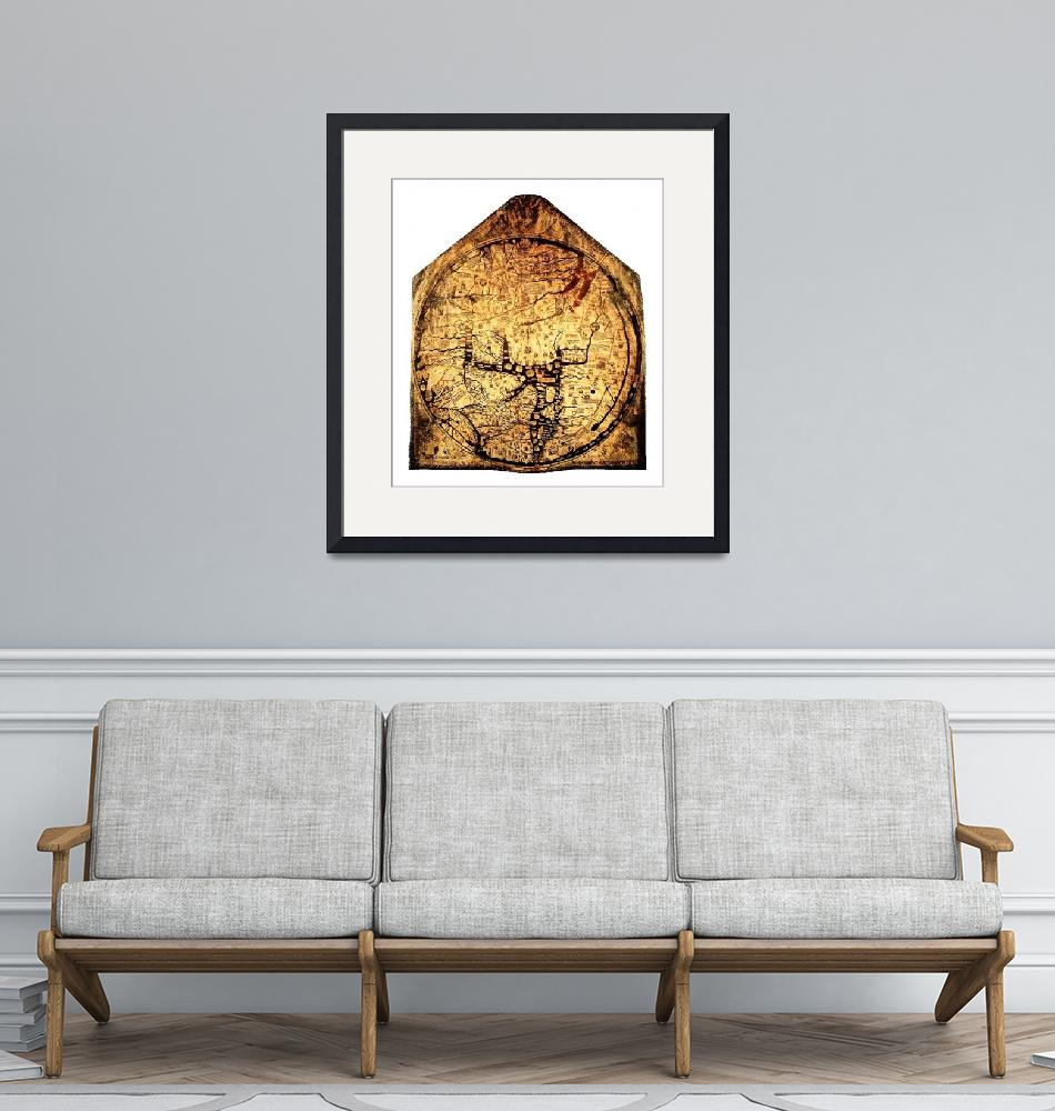 """Hereford Mappa Mundi Medium White Border"" (2014) by TheNorthernTerritory"