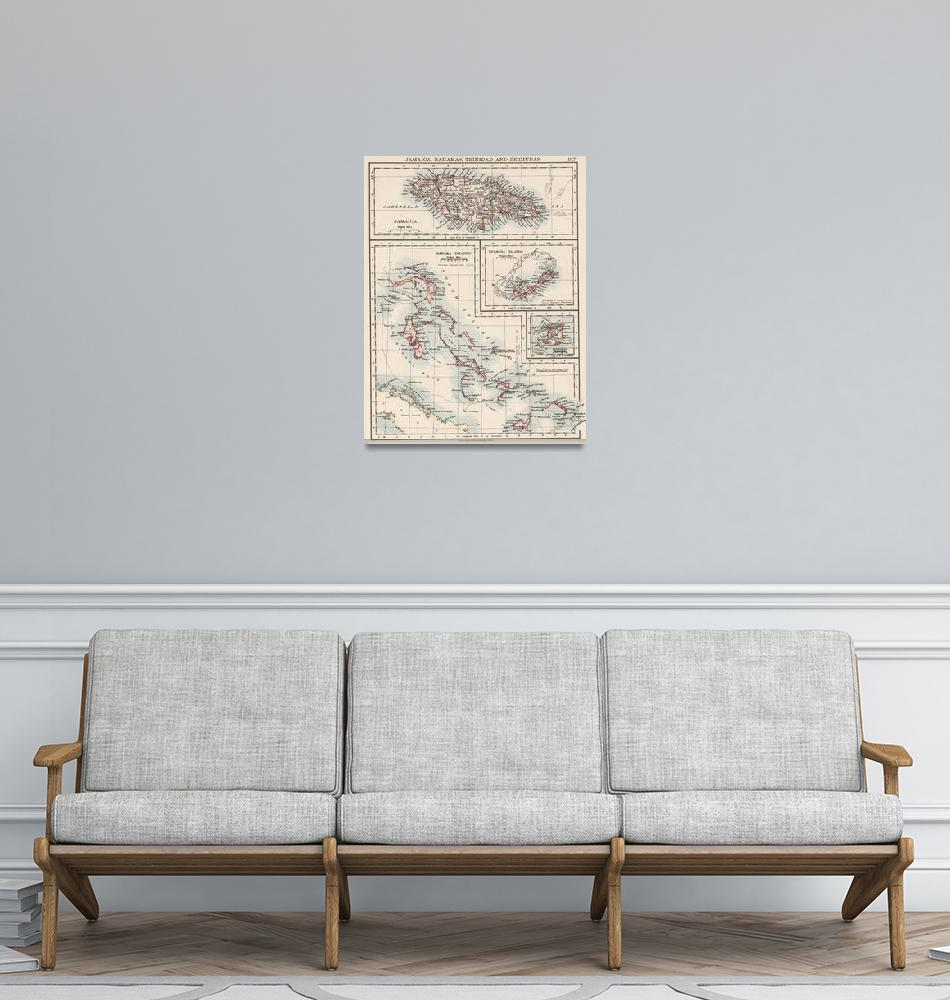 """""""Vintage Map of Various Caribbean Islands (1906)""""  by Alleycatshirts"""