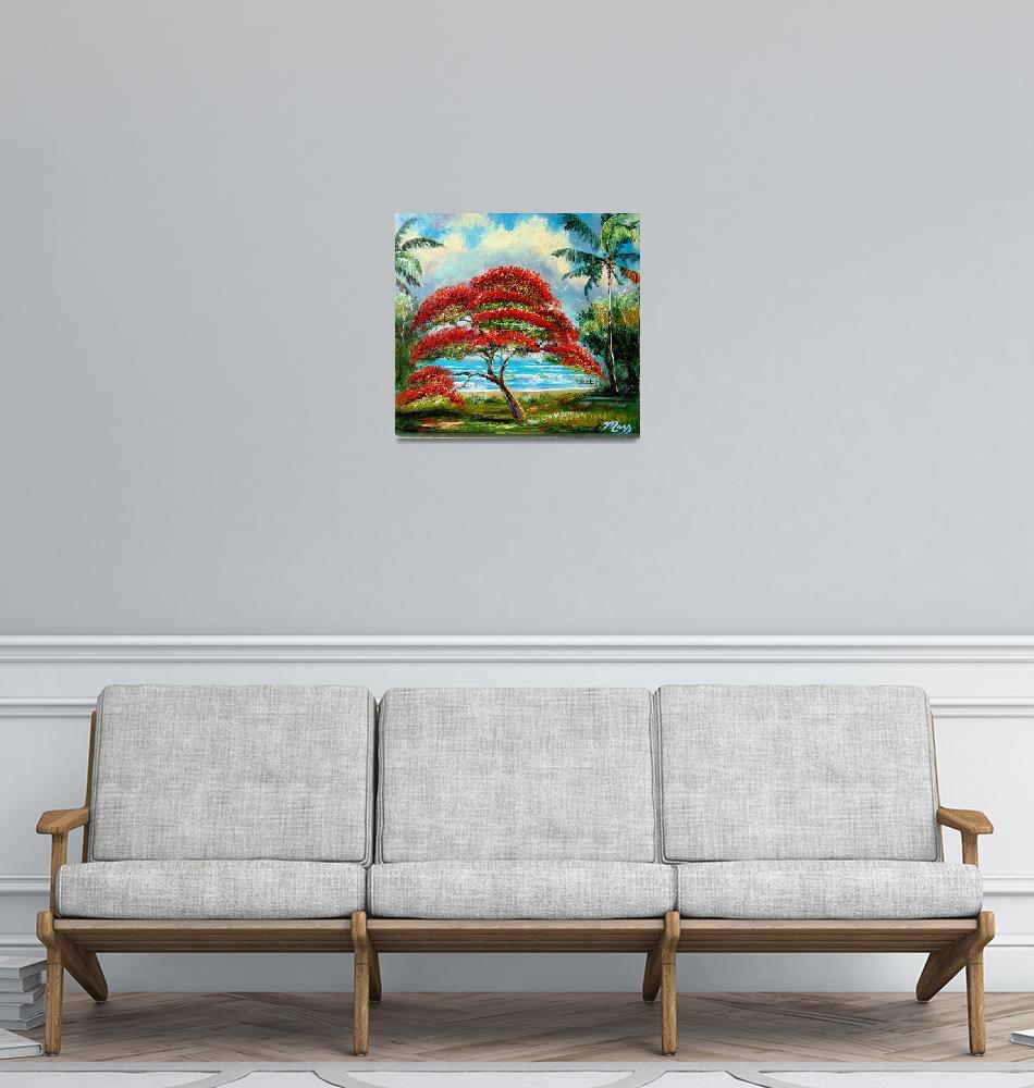 """Royal Poinciana Tree Painting""  (2008) by mazz"