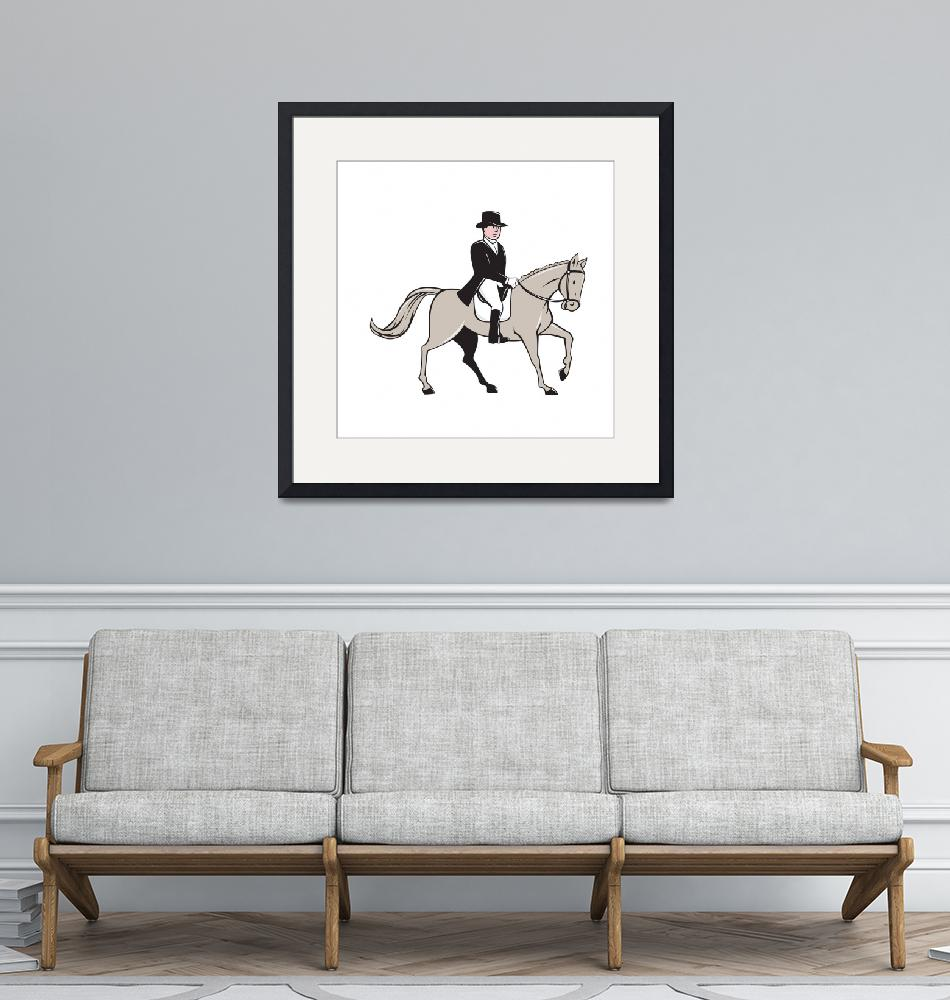 """Equestrian Rider Dressage Cartoon"" (2015) by patrimonio"