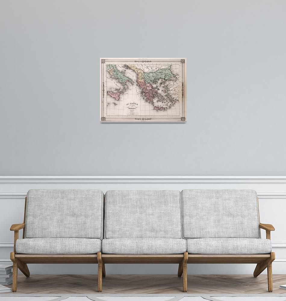 """""""Vintage Map of Greece and Italy (1852)""""  by Alleycatshirts"""
