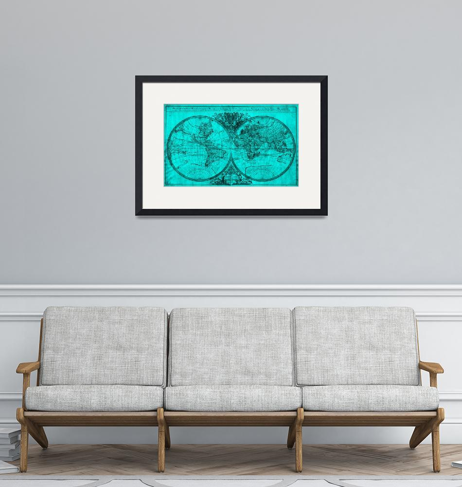 """World Map (1691) Turquoise & Black"" by Alleycatshirts"