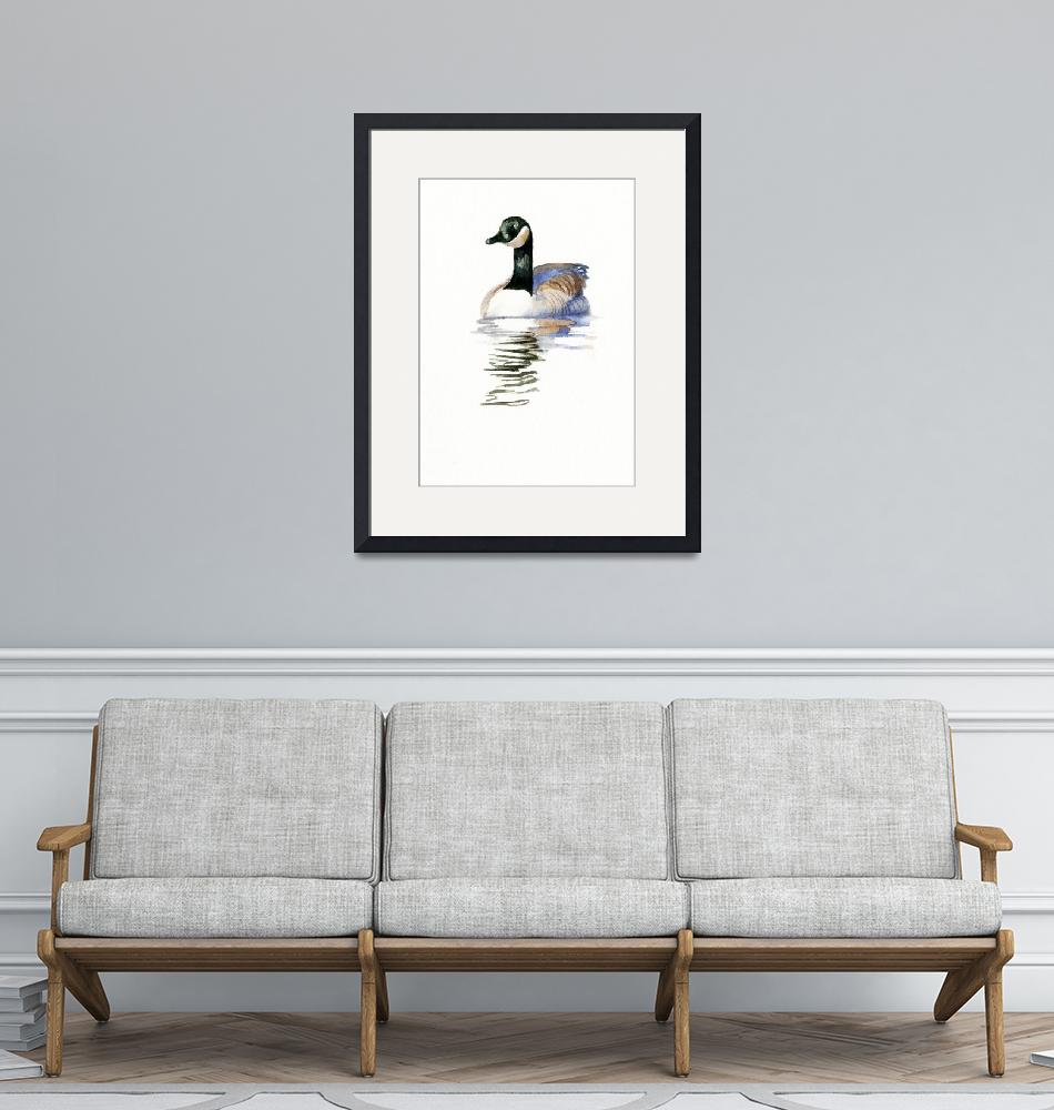 """""""Duck with Black Neck Swimming""""  (2013) by Pacific-NW-Watercolors"""