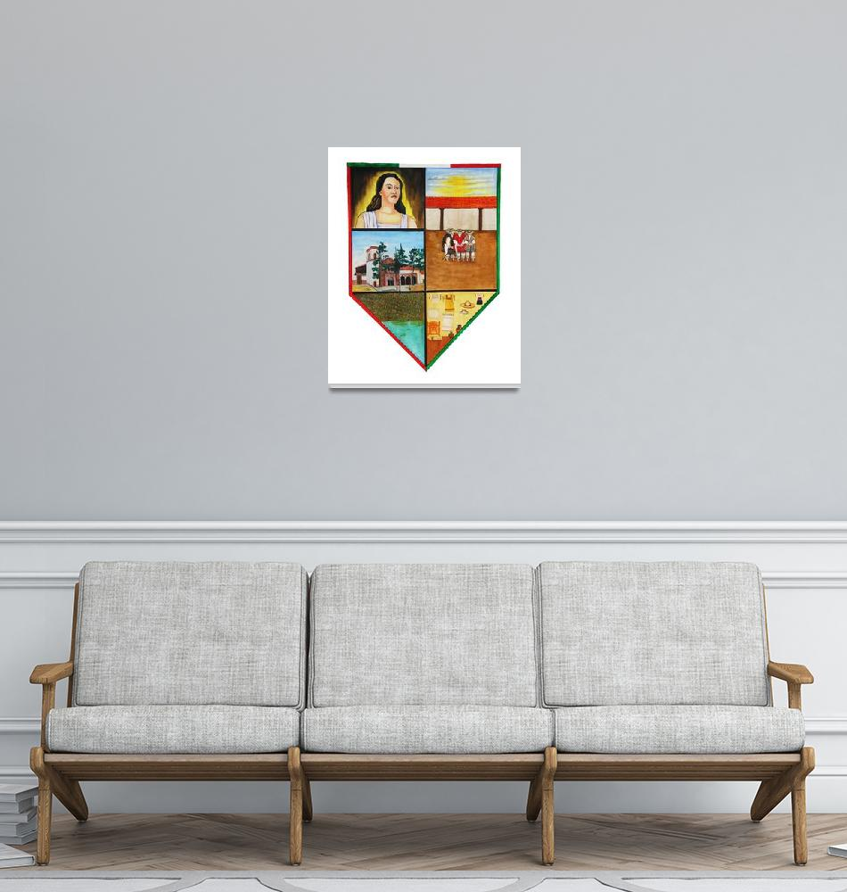 """Erongaricuaro town crest, white background""  by BrianFey"