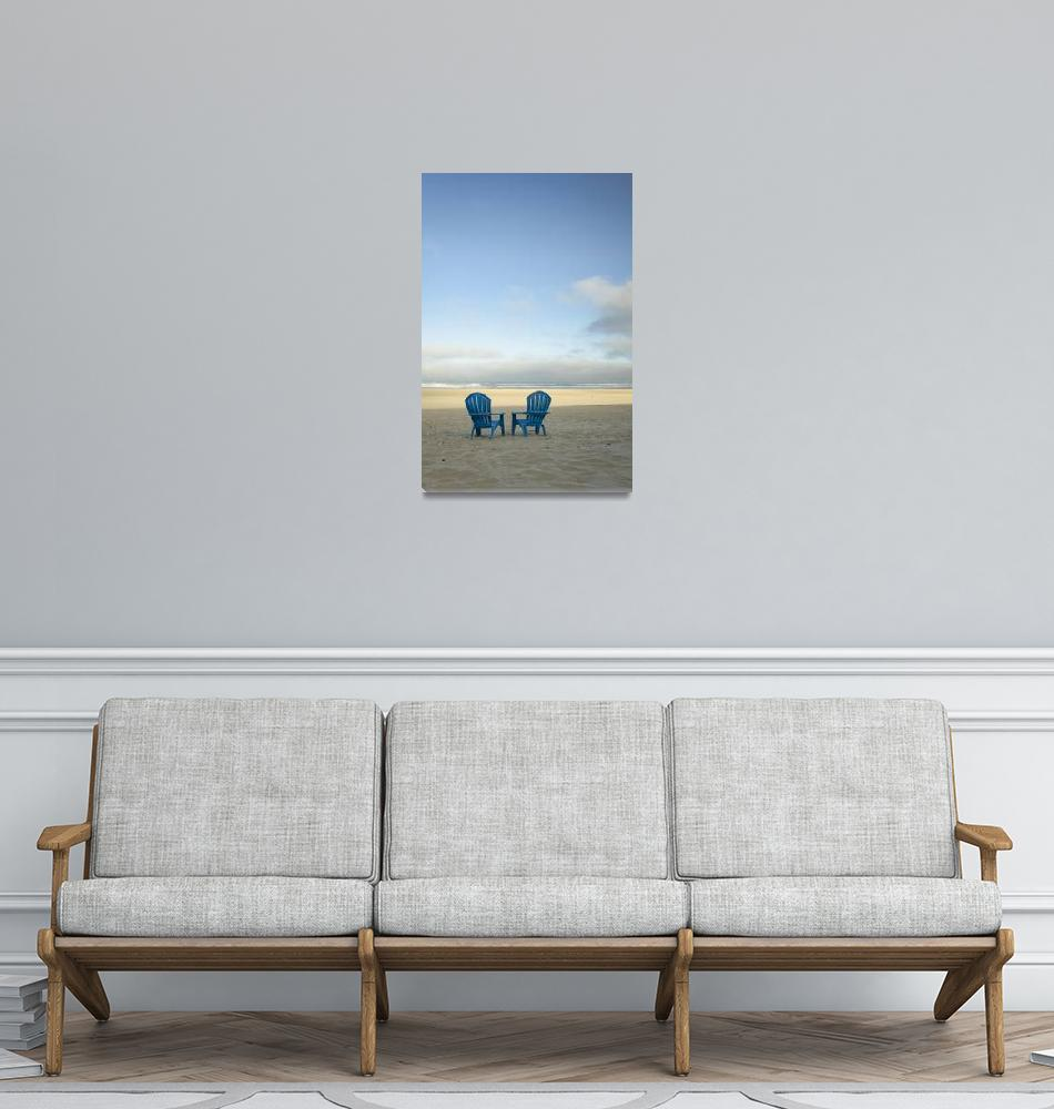 """""""Two Blue Beach Chairs""""  (2015) by boppintheblues"""