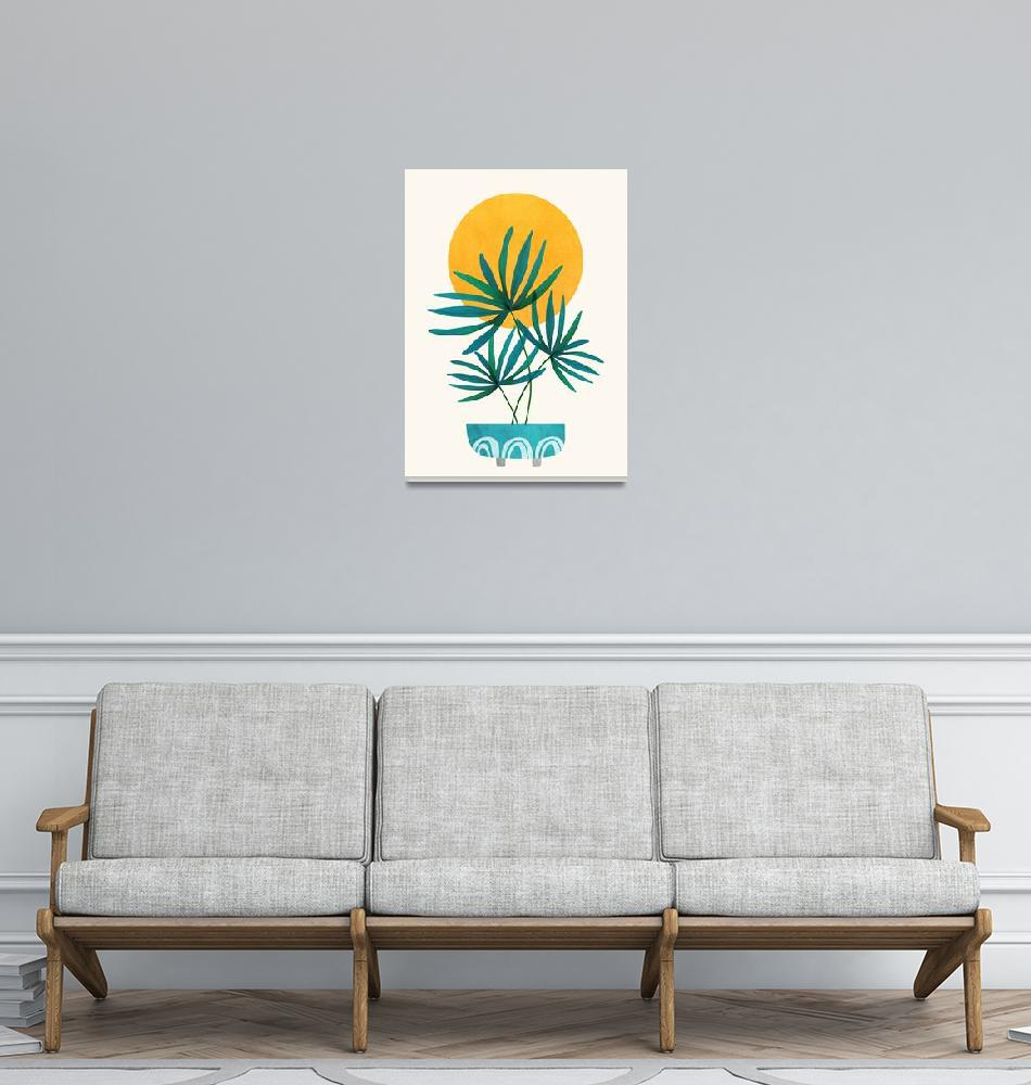 """Little Palm - Retro Sunset Illustration""  (2019) by moderntropical"