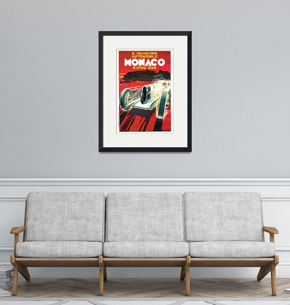 """Monaco Grand Prix Vintage 1930 Auto Race Poster"" (1930) by Johnny-Bismark"