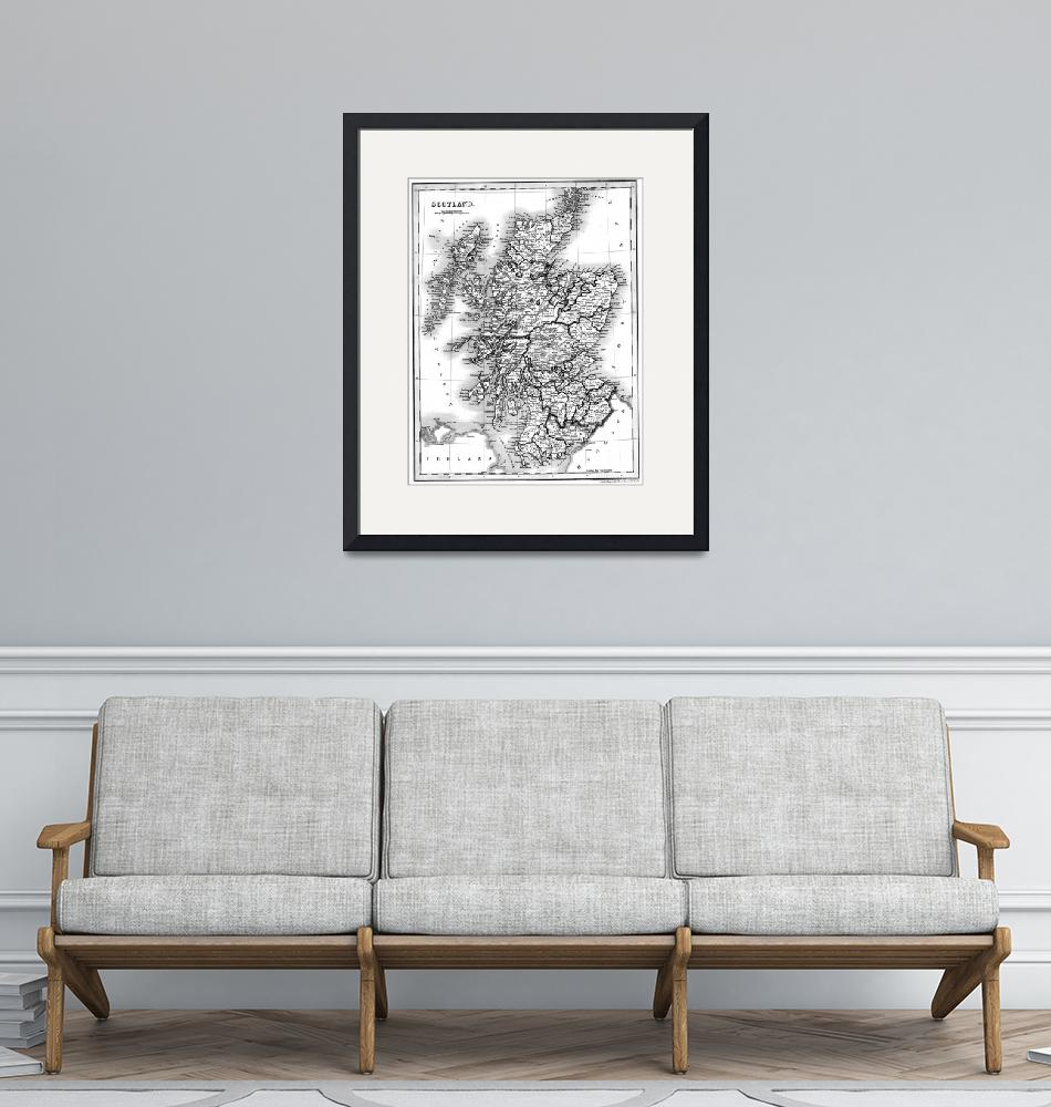 """""""Vintage Map of Scotland (1832) BW""""  by Alleycatshirts"""
