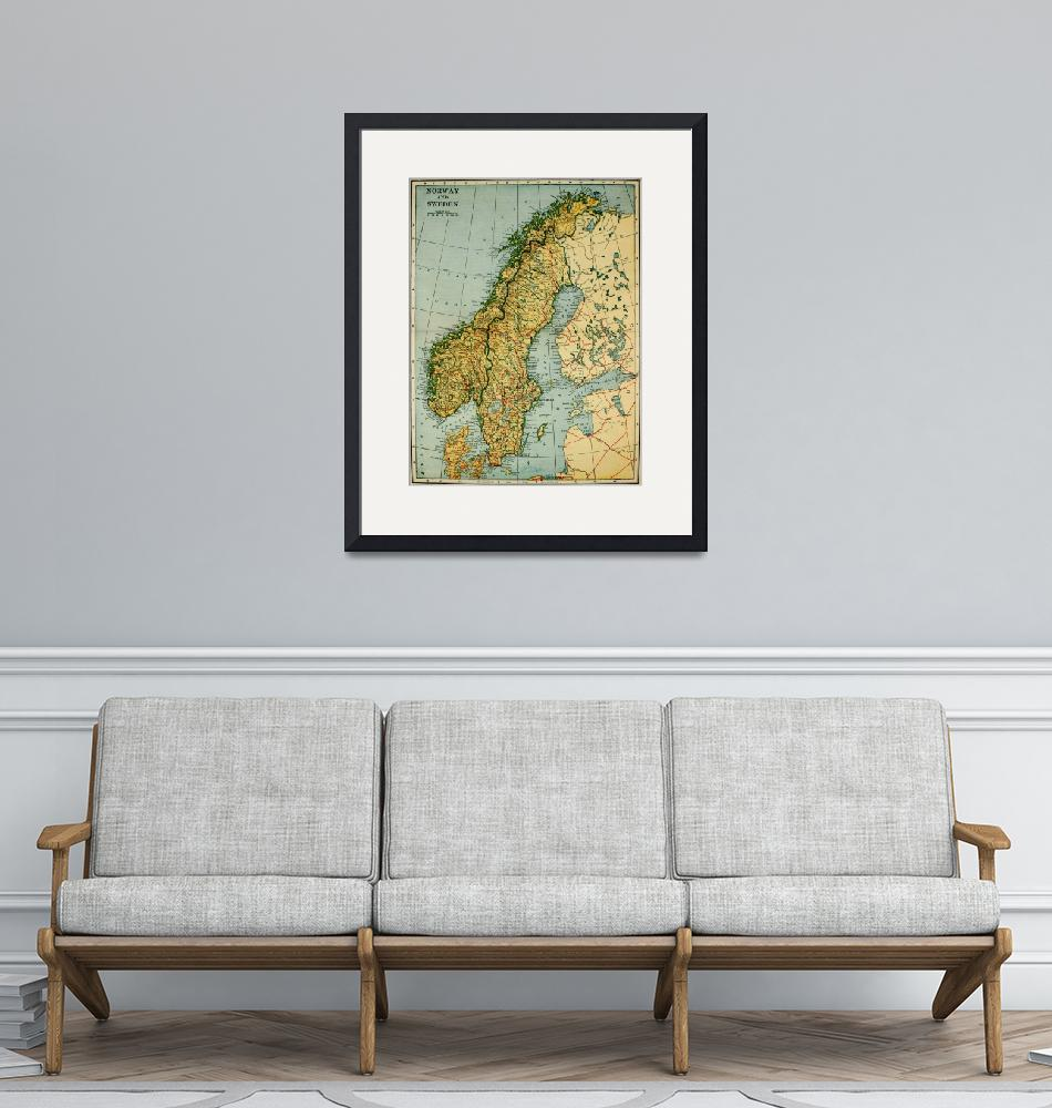 """""""Vintage Map of Norway and Sweden (1921)""""  by Alleycatshirts"""