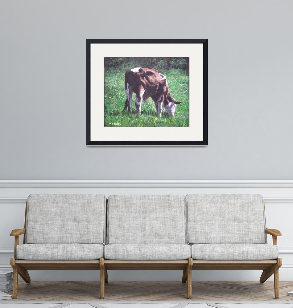 """brown and white cow eating grass""  (2012) by martindavey"