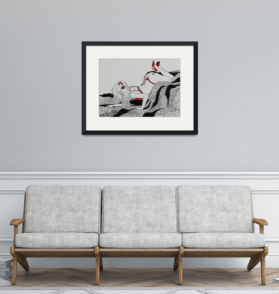 """""""Relaxing in Red Shoes""""  (2014) by Maryeden"""