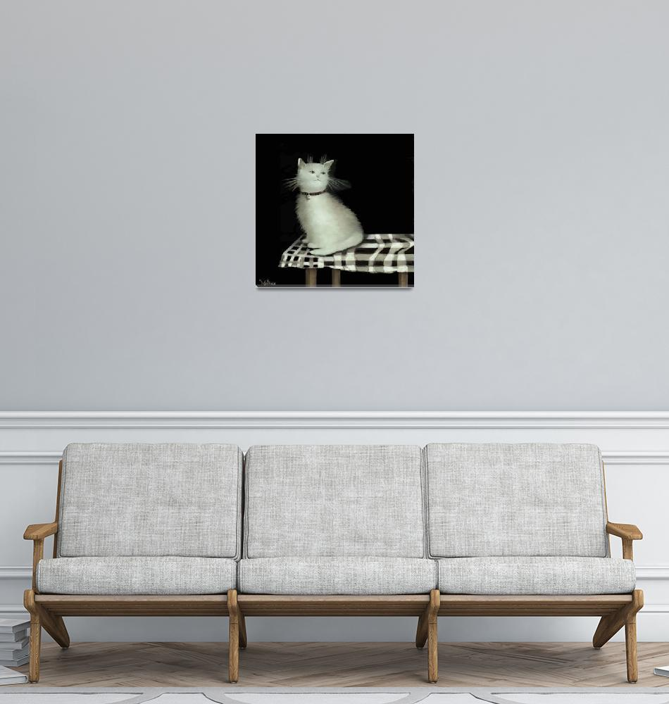"""""""Cat on Checkered Tablecloth""""  (2014) by dianestrain"""