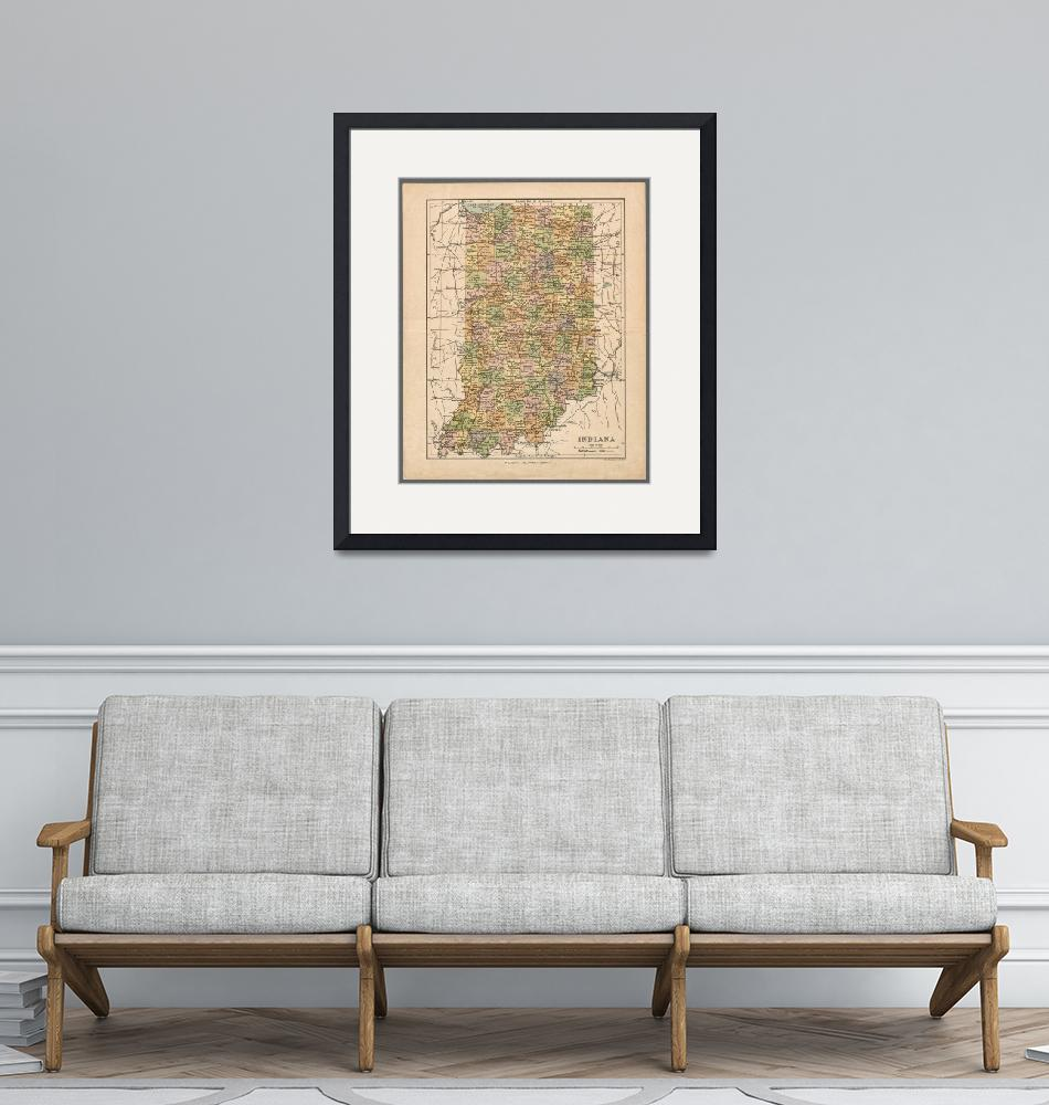 """""""Indiana Antique Map Showing Counties, Railroads, P""""  (2020) by WilshireImages"""
