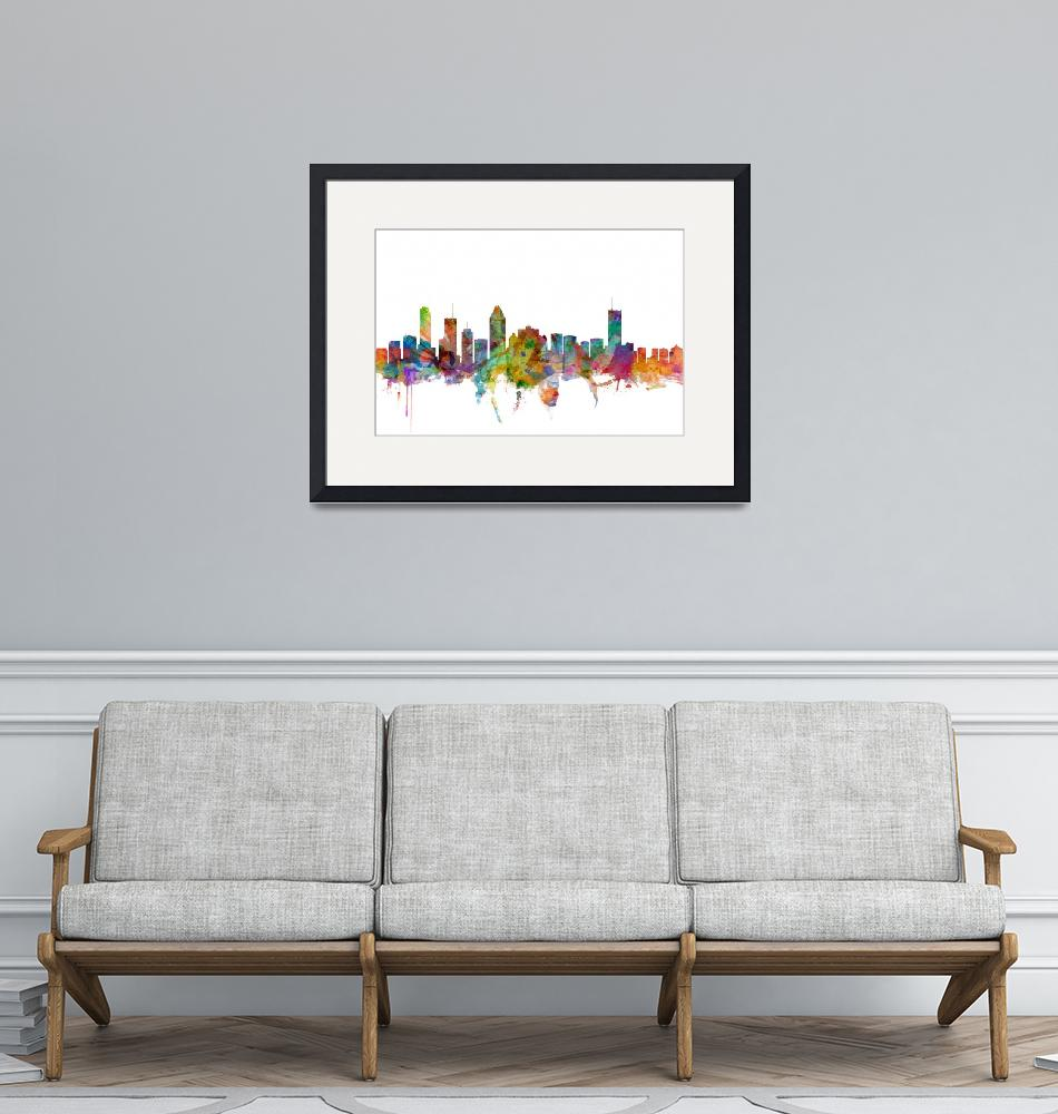 """Montreal Canada Skyline""  (2014) by ModernArtPrints"