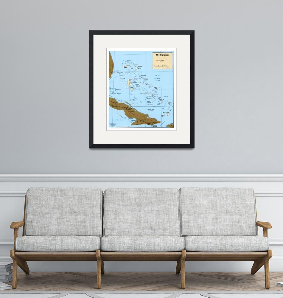 """Map of The Bahamas (1986)""  by Alleycatshirts"