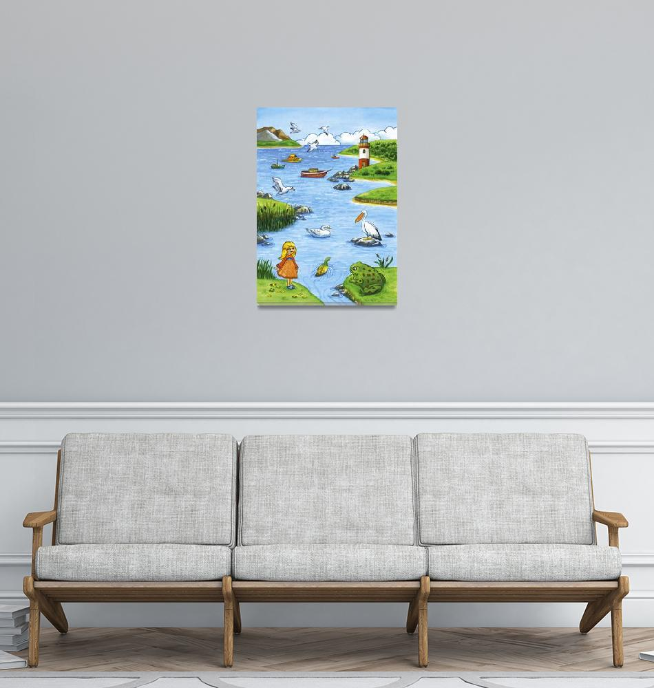 """Kids room art, Lighthouse landscape""  (2009) by nopiepan"